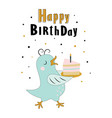 birthday card with bird in scandinavian vector image vector image