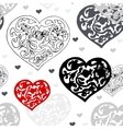 Black and white ornamental hearts pattern vector image vector image