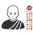 buddhist monk icon with lovely bonus vector image