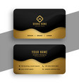 business card design in black and gold colors vector image vector image
