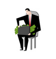 businessman fondling money boss and bundle of vector image vector image