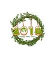 cartoon green wreath spruce happy new year cookie vector image vector image