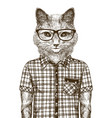 cat dressed up hipster fashion concept sketch vector image
