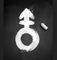 chalked of androgyne symbol vector image vector image