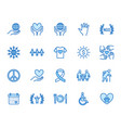 charity flat line icons set donation nonprofit vector image vector image
