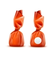 Chocolate Candy in Orange Wrapper on Background vector image vector image