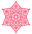 Christmas red snowflake lace design vector image