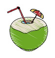 color crayon stripe coconut cocktail drink vector image vector image