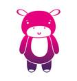 color silhouette cute and happy hippopotamus wild vector image vector image