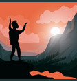 colorful sunset landscape of climber man vector image vector image