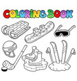 coloring book winter sports gear vector image