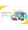 cross-platform operation landing page website vector image vector image