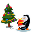 cute cartoon penguin with a gift box vector image vector image
