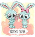 Cute cartoon rabbits boy and girl