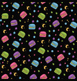 cute seamless macaroon space pattern vector image vector image