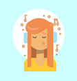 female listening music emotion profile icon woman vector image vector image