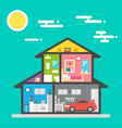 Flat design of house interior vector image vector image