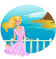 Girl on the bridge vector image vector image
