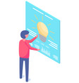guy examines billboard with picture light bulb vector image vector image