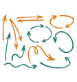 hand drawn diagram arrow icons set vector image