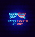 happy fourth july neon label vector image vector image