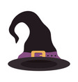 happy halloween witch hat with purple strap trick vector image vector image