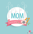Happy Motherss Day heart paper with floral vector image vector image