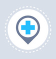 hospital red cross map marker geo tag icon vector image vector image