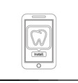icon of smart phone mobile teeth application vector image vector image