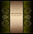 invitation card with golden pattern and ribbon vector image vector image