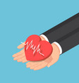 isometric businessman hand holding red heart vector image vector image