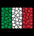 italian flag mosaic of filled circle icons vector image vector image
