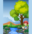 little boy reading book by the river vector image vector image