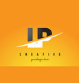 lp l p letter modern logo design with yellow vector image vector image
