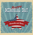 memorial day remember and honor greeting card vector image