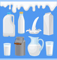 milk product in various containers set milk vector image