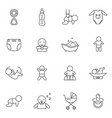 Newborn babies signs black thin line icon set
