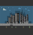 night cityscape landscape flat background vector image