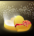 opened gift box in shape a heart vector image vector image