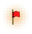Red flag icon comics style vector image