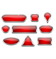 red glass buttons with chrome frame vector image vector image