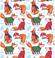 seamless pattern with cute foxes in sweaters vector image vector image