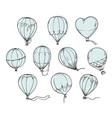set hot air balloons line vector image vector image