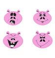 set of four cute cartoon emotional pink pig vector image vector image