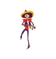 skeleton in mexican national costume dancing with vector image vector image