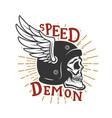 speed demon skull in winged helmet design element vector image vector image