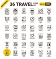 Travel pixel perfect icons vector image