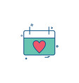 valentines heart shape calendar icon design vector image vector image