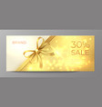 voucher gold card golden ribbon certificate vector image