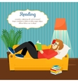 Young man reading book on sofa vector image